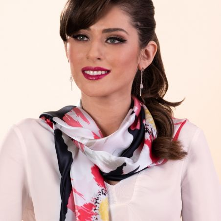 Gift: It's a poppy flower rose silk scarf and Pink Muse Quartz silver earrings