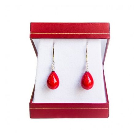 Gift: RR Zinnie Red silk scarf and Silver drop earrings red coral
