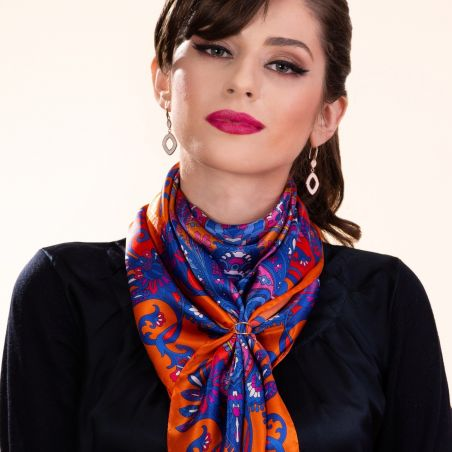 Gift: Bohemian Paisley Orange silk scarf and Prestige silver earrings