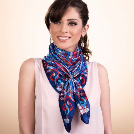 Gift: Bohemian Paisley Navy silk scarf and Dream Big silver earrings