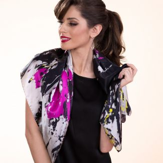 Gift: True Color Black silk scarf and Vfor Victory silver earrings