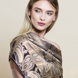 Gift: Inside beauty paisley beige silk scarf and Morning Light Agate silver earrings
