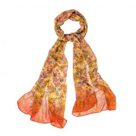Silk shawl Millefiori orange
