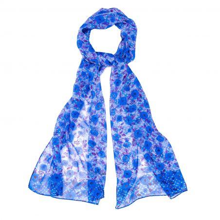 Silk shawl Campo di Fiore blue