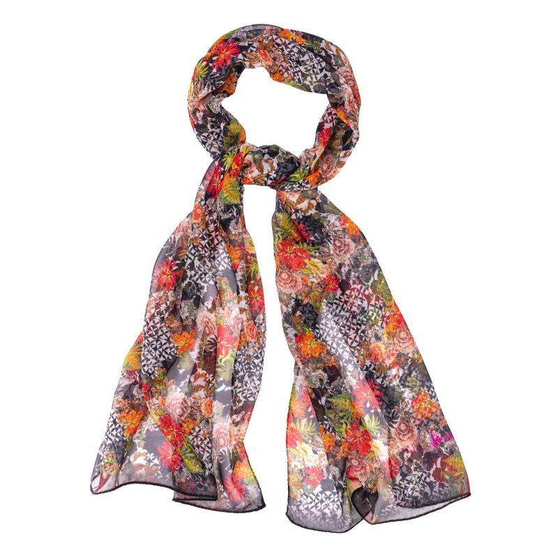 Silk shawl Bella Picollo Fiore black