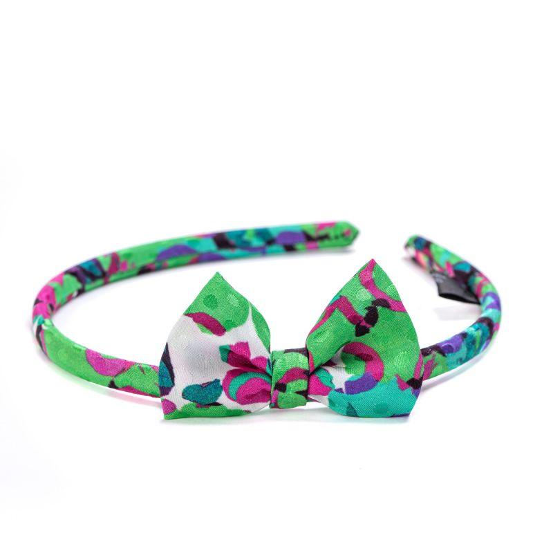 Silk Headband  It's Raining Flowers green