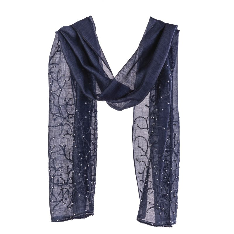 Wool and silk navy scarf Marina D' Este with pearls