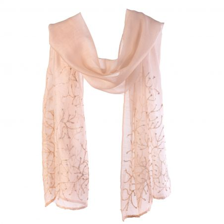 Wool and silk beige scarf Marina D' Este with pearls