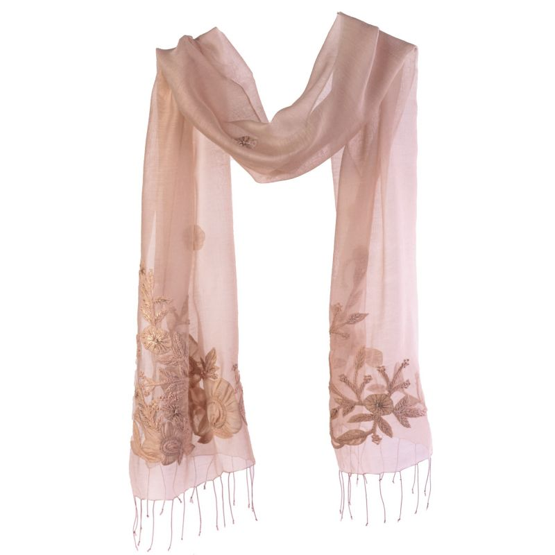 Wool and silk beige scarf Marina D' Este with applied flowers