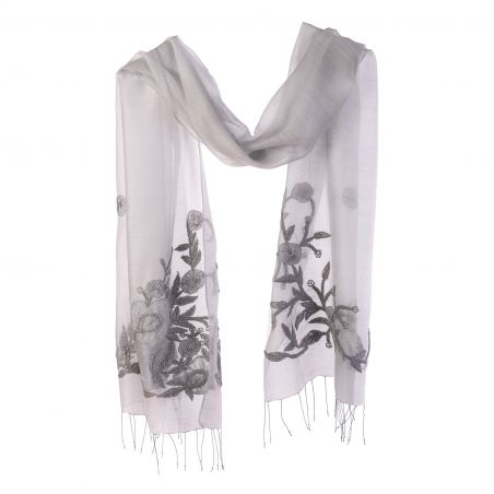 Wool and silk grey scarf Marina D' Este with applied flowers