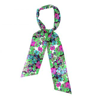Silk Scarf It's Raining Flowers green