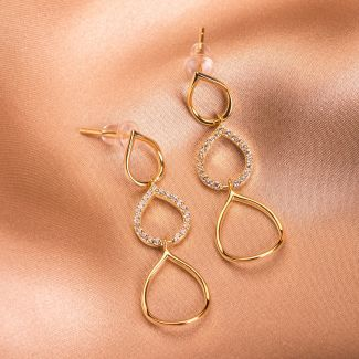 Sterling Silver Earrings Dancing in the night gold