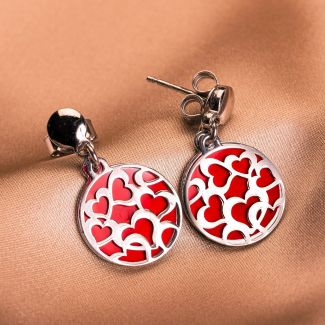 Sterling Silver Earrings Full Red Hearts