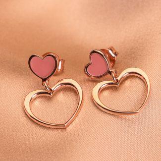 Cercei argint 2 Hearts pink