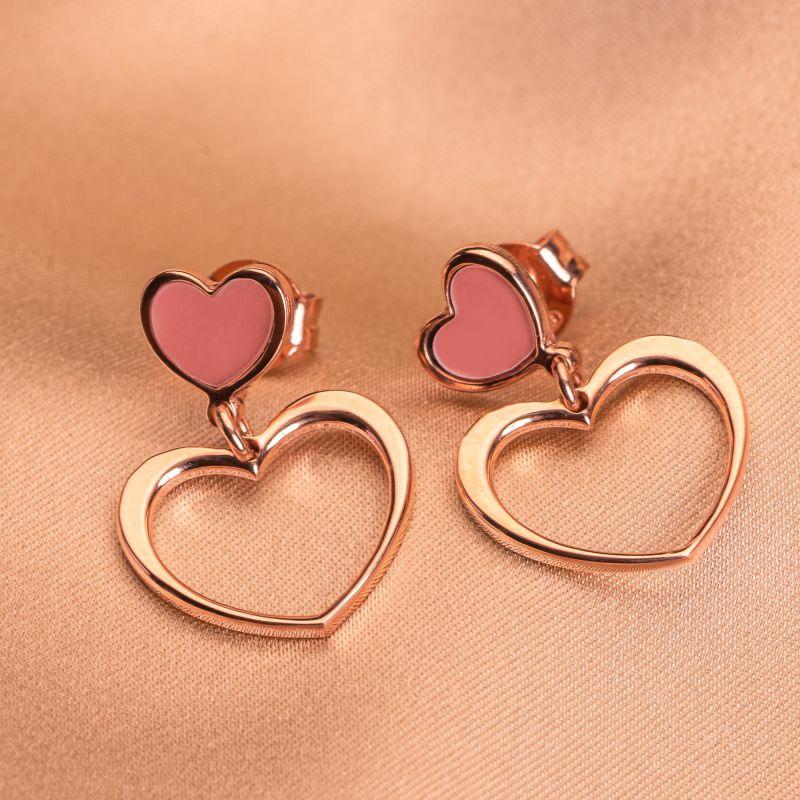 Sterling Silver Earrings 2 Hearts pink