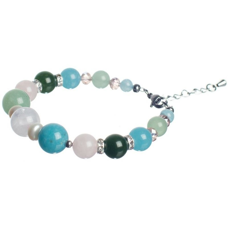 Aventurine, Angelite and Pink Quartz Luxury Bracelet