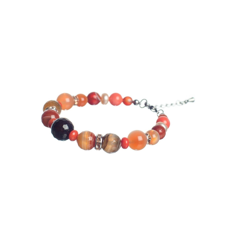 Orange Agate and Pink Quartz Luxury Bracelet