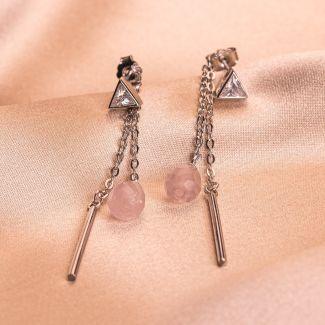 Cercei argint Cuart Pink Muse