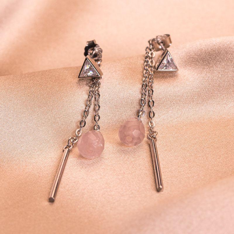 Pink Muse Quartz silver earrings