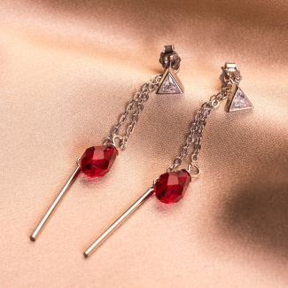 Swarovski Red Siam silver earrings
