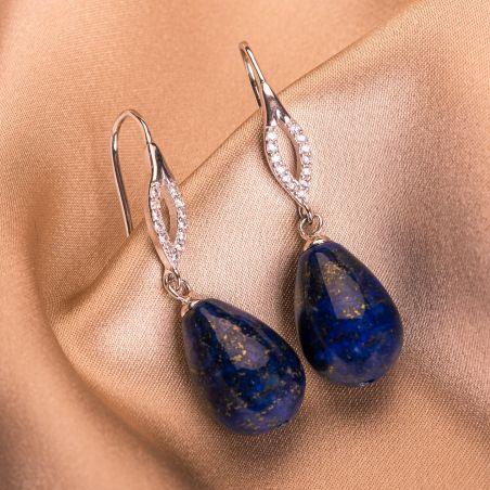 Silver cubic zirconia earrings oval lapis sharp drops