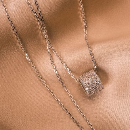 Silver necklace with  It's my party charm