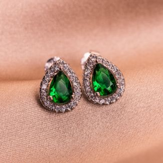 Sterling Silver Earrings Emerald Drop