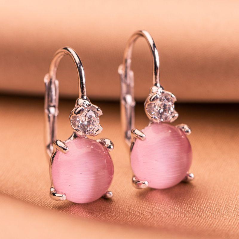 Sterling Silver Earrings Light Pink Eye Cat