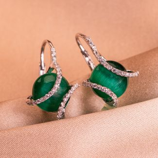 Sterling Silver Earrings Zirconia Emerald Cat Eye