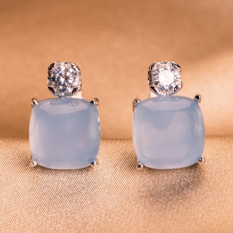 Sterling Silver Earrings Aqua Milk
