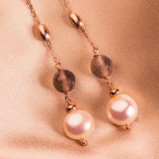 Cercei argint cu agate nude Uruguay si perle