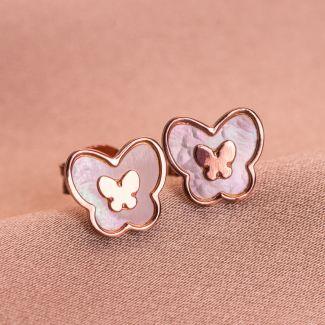 Cercei argint Minimal Butterflies rose