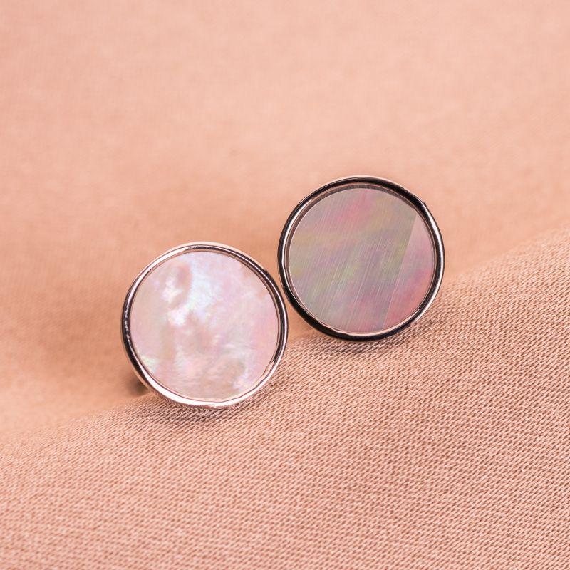 Cercei argint Minimal White Shell round
