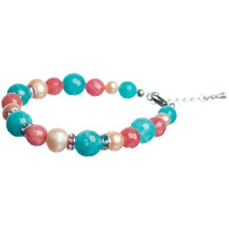 Pink and Turquoise Agates Luxury Bracelet