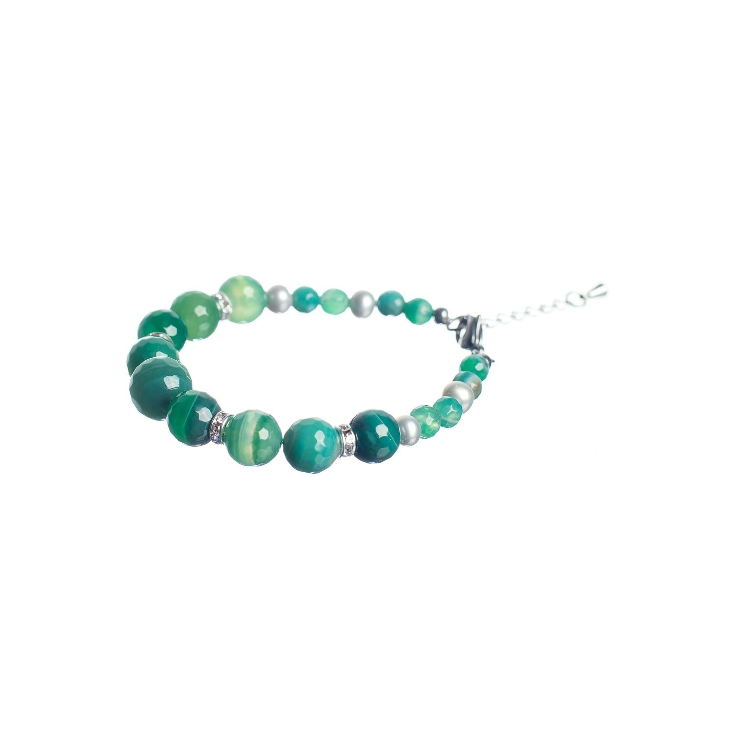 Pastel Green Lace Agates Luxury Bracelet