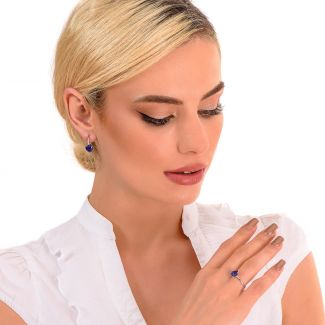 Cercei argint Tanzanite Heart