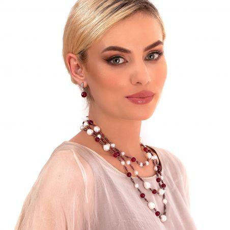 Agate silver earrings cognac