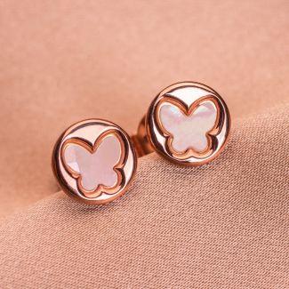 Sterling Silver Earrings Butterfly white