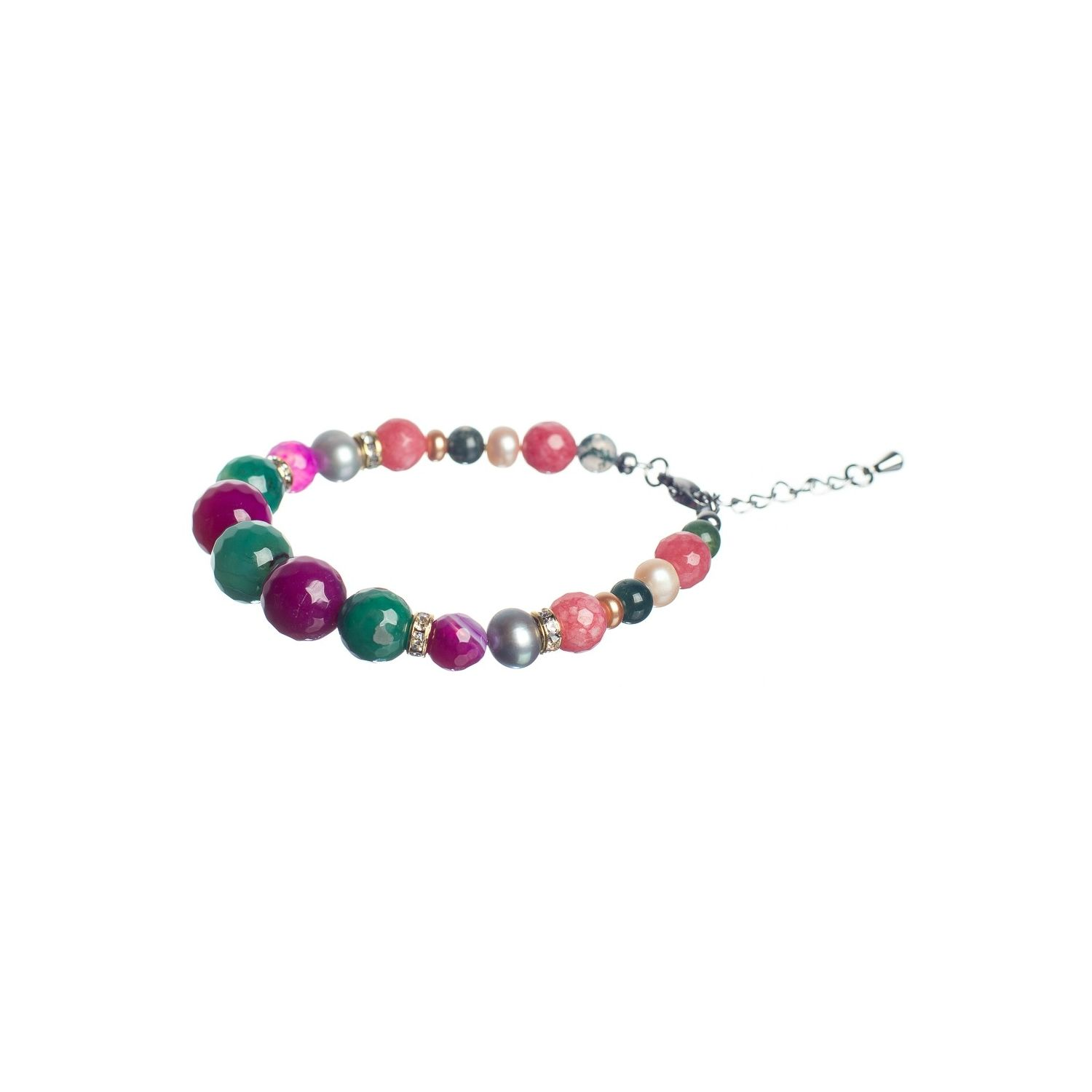 Pink and Green Agates Luxury Bracelet