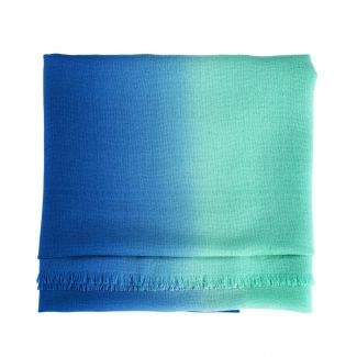 Wool Scarf Mila Schon green blue plain