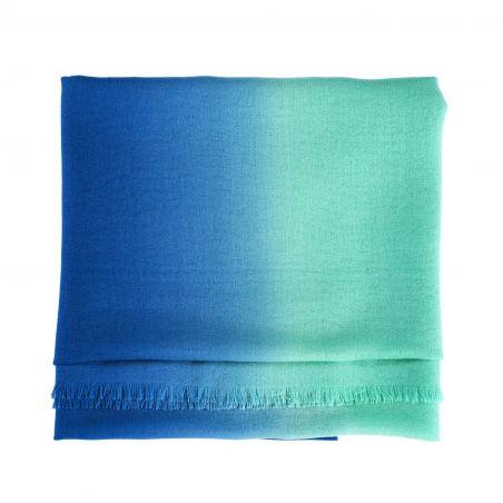 Esarfa lana Mila Schon green blue plain