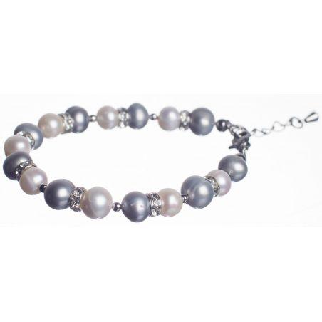 Brăţară perle de cultură albe şi gri