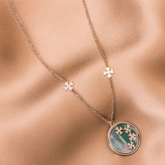 Sterling Silver Necklace Lucky Clovers