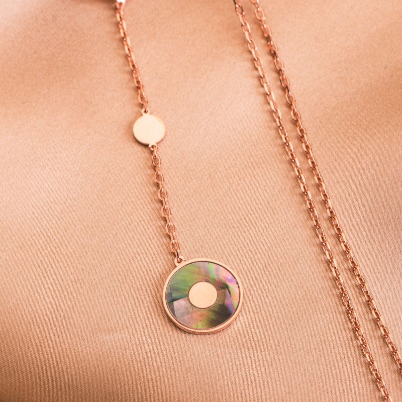 Sterling Silver Necklace Minimal Glam green