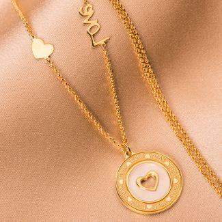 Colier argint Love gold