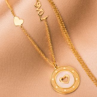 Sterling Silver Necklace Love gold