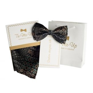 Luxury gifts for men: natural silk bowtie and handkerchief etno black