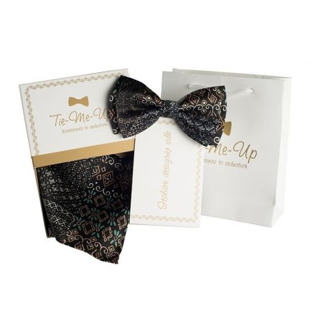 Luxury gifts for men: natural silk bowtie and handkerchief Merlose Party