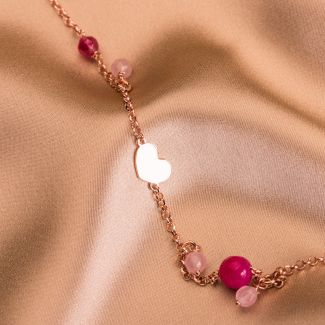 Sterling Silver Necklace Falling in Love pink