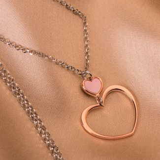 Sterling Silver Necklace Hearts pink
